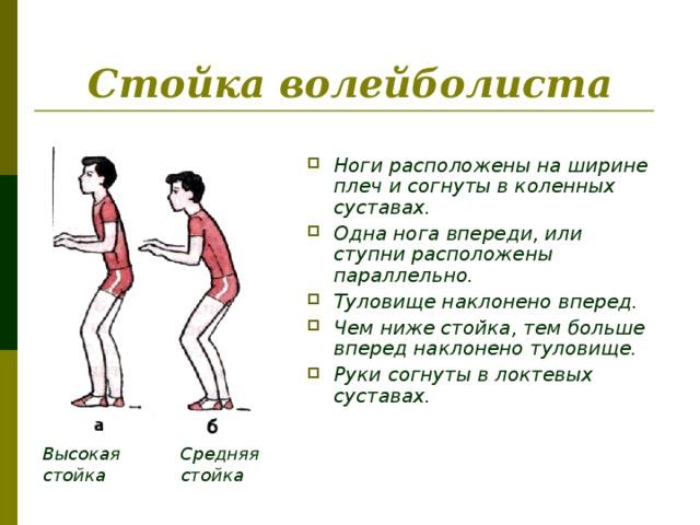 Стойка волейболиста  Ноги расположены на ширине плеч и согнуты в коленных суставах. Одна нога впереди, или ступни расположены параллельно. Туловище наклонено вперед. Чем ниже стойка, тем больше вперед наклонено туловище. Руки согнуты в локтевых суставах. Высокая стойка Средняя стойка
