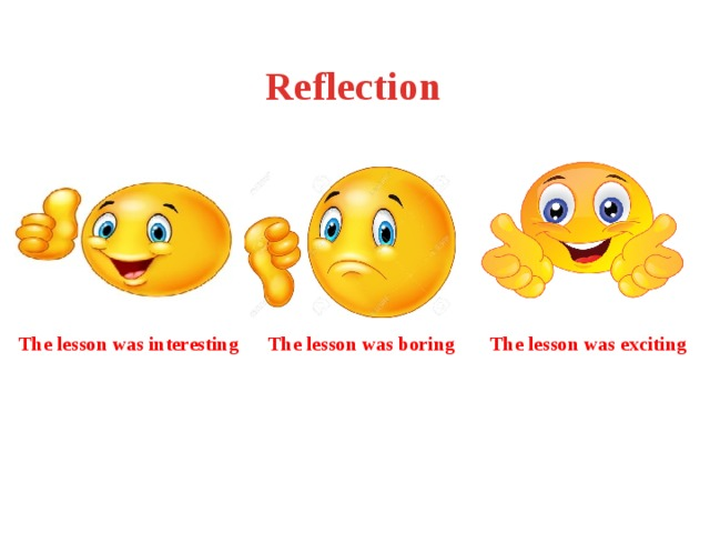 Reflection   The lesson was interesting The lesson was boring The lesson was exciting