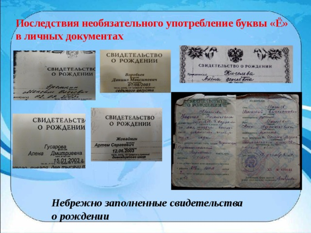 Последствия необязательного употребление буквы «Ё» в личных документах Небрежно заполненные свидетельства о рождении