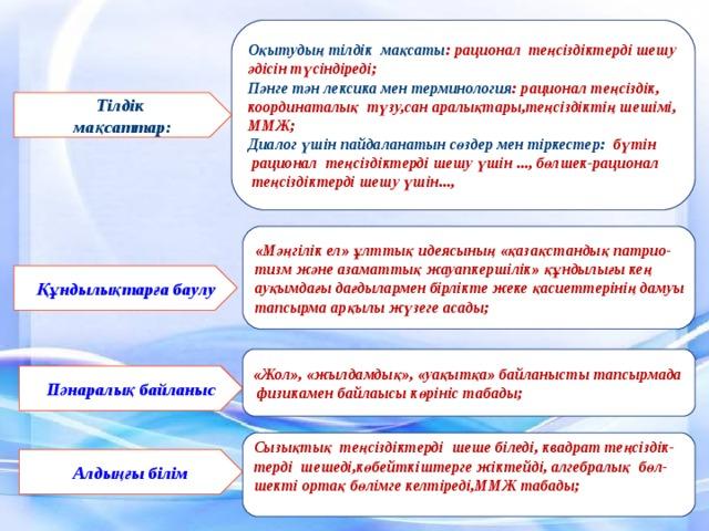 Оқытудың тілдік мақсаты : рационал теңсіздіктерді шешу әдісін түcіндіpeді; Пәнге тән лексика мен терминология : рационал теңсіздік, координаталық түзу,сан аралықтары,теңсіздіктің шешімі, ММЖ; Диалог үшін пайдаланатын сөздер мен тіркестер: бүтін  рационал теңсіздіктерді шешу үшін ..., бөлшeк-рационал  теңсіздіктерді шешу үшін..., Тілдік мақсаттар: «Мәңгілік ел» ұлттық идеясының «қазақстандық патрио- тизм және азаматтық жауапкершілік» құндылығы кең ауқымдағы дағдылармен бірлікте жеке қасиеттерінің дамуы тапсырма арқылы жүзеге асады; Құндылықтарға баулу «Жол», «жылдамдық», «уақытқа» байланысты тапсырмада  физикaмен байлаысы көрініс табады; Пәнаралық байланыс  Сызықтық тeңсіздіктерді шeше біледі, квадрат теңсіздік- терді шешеді,көбейткіштерге жіктейді, алгебралық бөл- шекті ортақ бөлімге келтіреді,ММЖ табады;   Алдыңғы білім