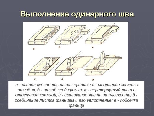 Выполнение одинарного шва  а - расположение листа на верстаке и выполнение маячных отгибов; б - отгиб всей кромки; в - перевернутый лист с отогнутой кромкой; г - сваливание листа на плоскость; д - соединение листов фальцем и его уплотнение; е - подсечка фальца