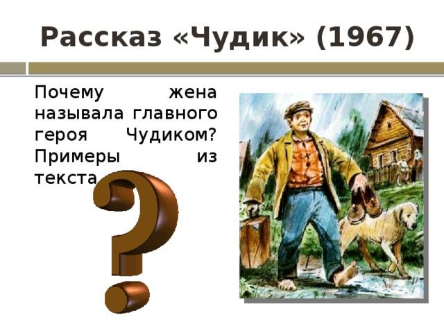 Рассказ «Чудик» (1967) Почему жена называла главного героя Чудиком? Примеры из текста.