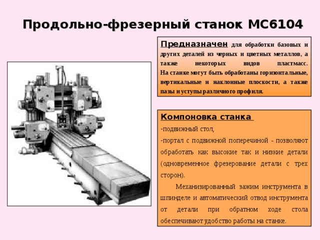 Продольно-фрезерный станок МС6104  Предназначен  для обработки базовых и других деталей из черных и цветных металлов, а также некоторых видов пластмасс.  На станке могут быть обработаны горизонтальные, вертикальные и наклонные плоскости, а также пазы и уступы различного профиля. Компоновка станка