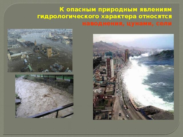 К опасным природным явлениям гидрологического характера относятся наводнения, цунами, сели