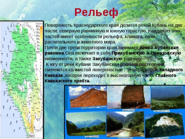 Рельеф Поверхность Краснодарского края делится рекой Кубань на две части: северную равнинную и южную гористую. Каждая из этих частей имеет особенности рельефа, климата, почв, растительного и животного мира. Почти две трети территории края занимает Азово-Кубанская равнина .Она включает в себя Прикубанскую и Приазовскую низменности, а также Закубанскую равнину.  К югу от реки Кубани Закубанская равнина постепенно сменяется холмистой поверхностью . Это предгорье Западного Кавказа ,которое переходит в высокогорную часть Главного Кавказского хребта.