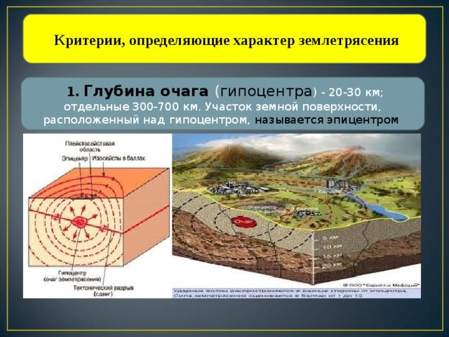 Критерии, определяющие характер землетрясения  1. Глубина очага ( гипоцентра ) - 20-30 км; отдельные 300-700 км. Участок земной поверхности, расположенный над гипоцентром, называется эпицентром