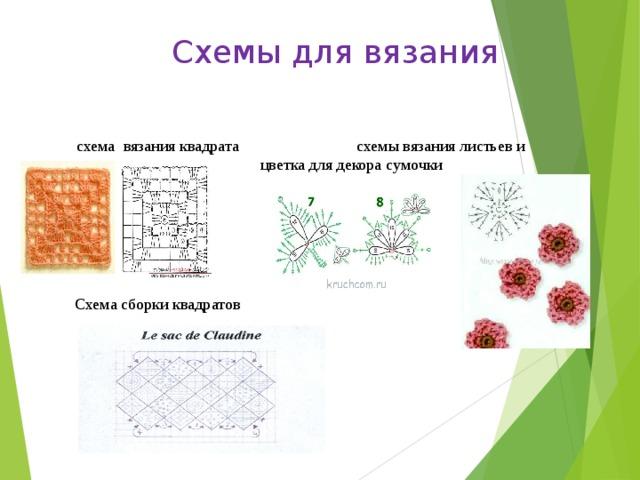 Схемы для вязания    схема вязания квадрата схемы вязания листьев и цветка для декора сумочки    Схема сборки квадратов