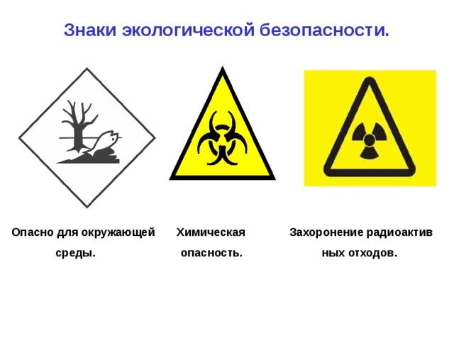 Знаки экологической безопасности.    Опасно для окружающей Химическая Захоронение радиоактив  среды. опасность. ных отходов.