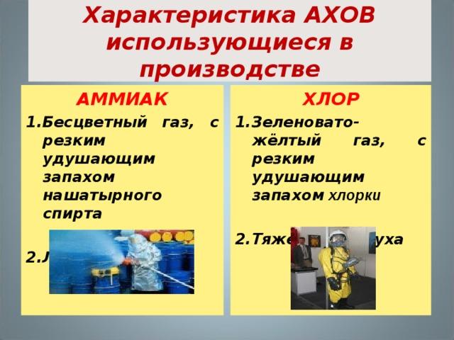 Характеристика АХОВ использующиеся в производстве АММИАК ХЛОР 1.Бесцветный газ, с резким удушающим запахом нашатырного спирта  2.Легче воздуха  1.Зеленовато-жёлтый газ, с резким удушающим запахом хлорки  2.Тяжелее воздуха