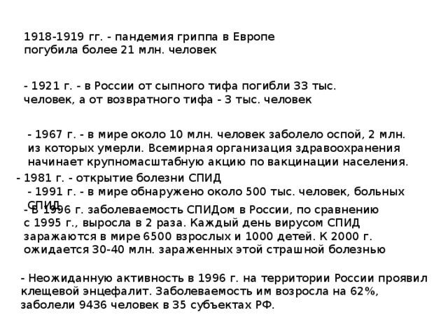 1918-1919 гг. - пандемия гриппа в Европе погубила более 21 млн. человек - 1921 г. - в России от сыпного тифа погибли 33 тыс. человек, а от возвратного тифа - 3 тыс. человек - 1967 г. - в мире около 10 млн. человек заболело оспой, 2 млн. из которых умерли. Всемирная организация здравоохранения начинает крупномасштабную акцию по вакцинации населения. - 1981 г. - открытие болезни СПИД - 1991 г. - в мире обнаружено около 500 тыс. человек, больных СПИД.   - В 1996 г. заболеваемость СПИДом в России, по сравнению с 1995 г., выросла в 2 раза. Каждый день вирусом СПИД заражаются в мире 6500 взрослых и 1000 детей. К 2000 г. ожидается 30-40 млн. зараженных этой страшной болезнью - Неожиданную активность в 1996 г. на территории России проявил клещевой энцефалит. Заболеваемость им возросла на 62%, заболели 9436 человек в 35 субъектах РФ.