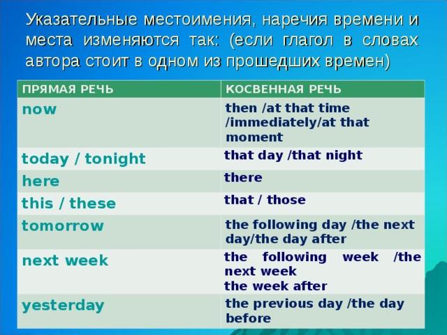 Указательные местоимения, наречия времени и места изменяются так: (если глагол в словах автора стоит в одном из прошедших времен) ПРЯМАЯ РЕЧЬ КОСВЕННАЯ РЕЧЬ now then / at that time /immediately / at that moment today / tonight that day /that night here there this / these that / those tomorrow the following day /the next day / the day after next week the following week /the next week the week after yesterday the previous day /the day before