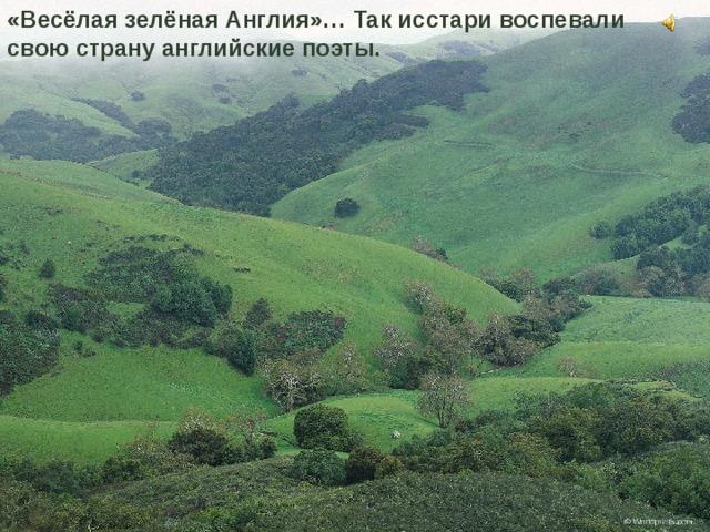 «Весёлая зелёная Англия»… Так исстари воспевали свою страну английские поэты.