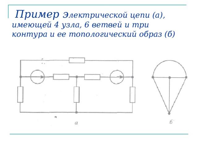 Пример э лектрической цепи (а), имеющей 4 узла, 6 ветвей и три контура и ее топологический образ (б)
