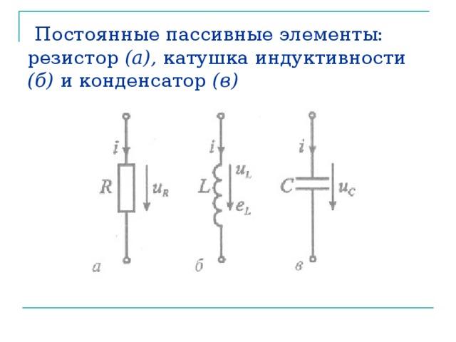 Постоянные пассивные элементы: резистор (а), катушка индуктивности (б) и конденсатор (в)