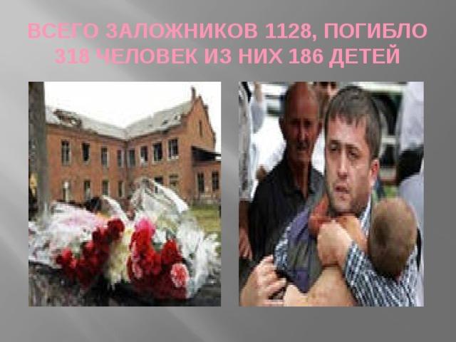 ВСЕГО ЗАЛОЖНИКОВ 1128, ПОГИБЛО 318 ЧЕЛОВЕК ИЗ НИХ 186 ДЕТЕЙ