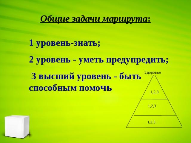 Общие задачи маршрута : 1 уровень-знать; 2 уровень - уметь предупредить;  3 высший уровень - быть способным помо чь  Здоровье 1,2,3 1,2,3 1,2,3