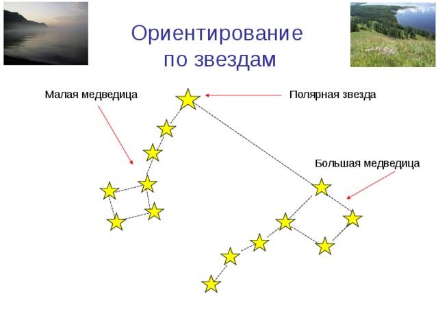 Ориентирование по звездам Полярная звезда Малая медведица Большая медведица
