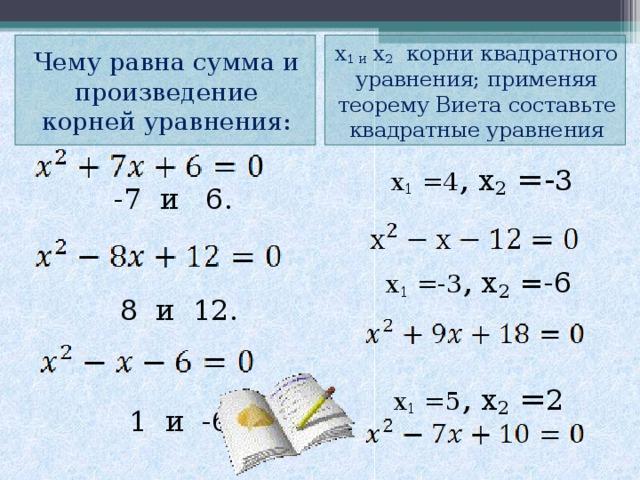 х 1 и х 2 корни квадратного уравнения; применяя теорему Виета составьте квадратные уравнения Чему равна сумма и произведение корней уравнения:  -7 и 6.  8 и 12.  1 и -6  х 1 =4 , х 2 =- 3 х 1 =-3 , х 2  =-6 х 1 =5 , х 2 = 2