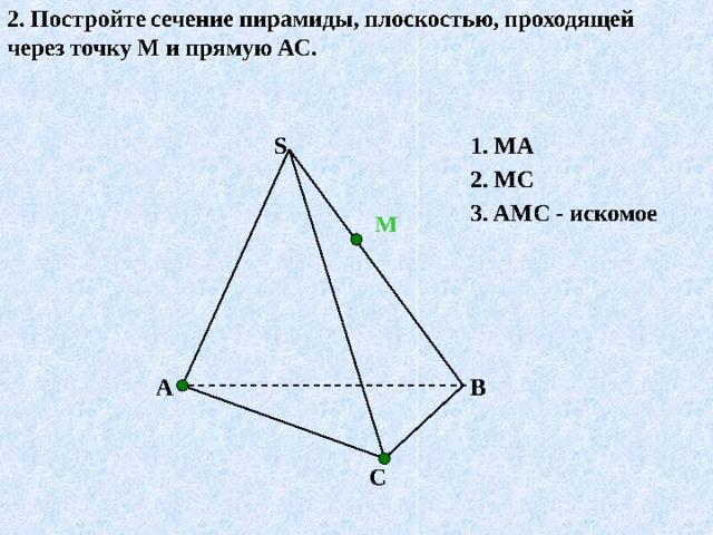 Построение сечения пирамиды 1.Построить сечение, проходящее через вершину D и точки М и N , лежащие на ребрах AB и BC тетраэдра ABCD D •  1.MN 2.MD 3.DN 4.Искомое сечение - ∆ MDN. C A •  •  N M B
