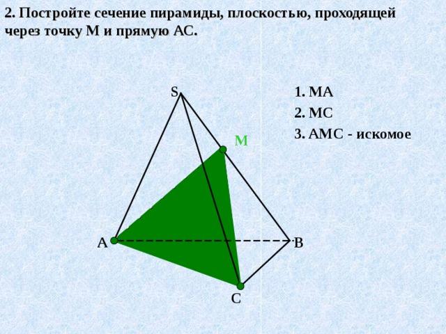 2. Постройте сечение пирамиды, плоскостью, проходящей через точку М и прямую АС. S 1. МА 2. МС 3.  АМС - искомое М А↔М, т.к.А є( ABS)  и М є ( ABS)  С↔М, т.к.Сє( С BS)  и М є (С BS)  АМС- искомое сечение. ( по т.15.1)   В А С