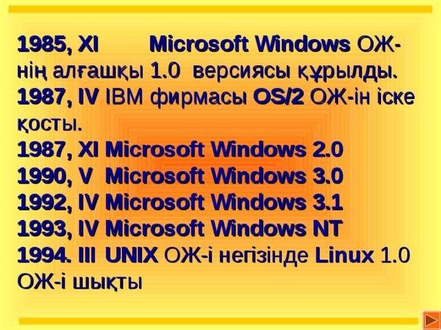 1985 , ХІ   Microsoft Windows  ОЖ-нің алғашқы 1.0 версиясы құрылды. 1987, IV  IBM фирмасы OS/2 ОЖ-ін іске қосты. 1987, ХІ  Microsoft Windows 2.0  1990, V  Microsoft Windows 3.0 1992, IV  Microsoft Windows 3.1 1993 , IV  Microsoft Windows NT 1994 . ІІІ  UNIX ОЖ-і негізінде Linux 1.0 ОЖ-і шықты