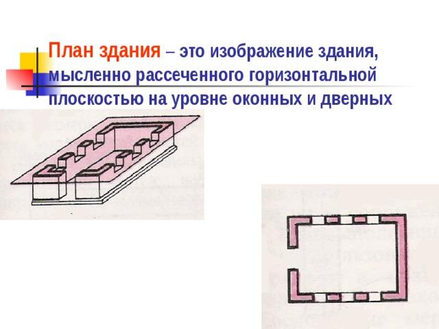 План здания – это изображение здания, мысленно рассеченного горизонтальной плоскостью на уровне оконных и дверных проёмов.