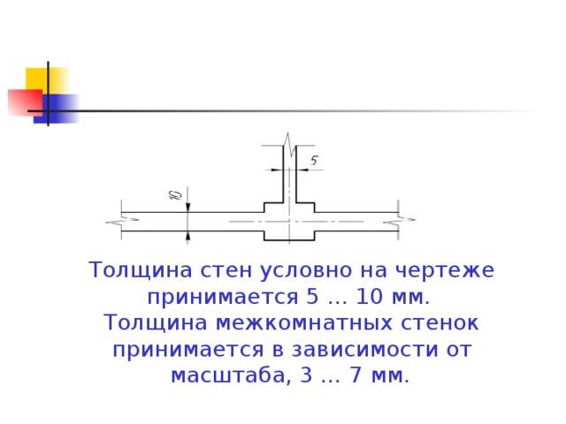 Толщина стен условно на чертеже принимается 5 … 10 мм. Толщина межкомнатных стенок принимается в зависимости от масштаба, 3 … 7 мм.