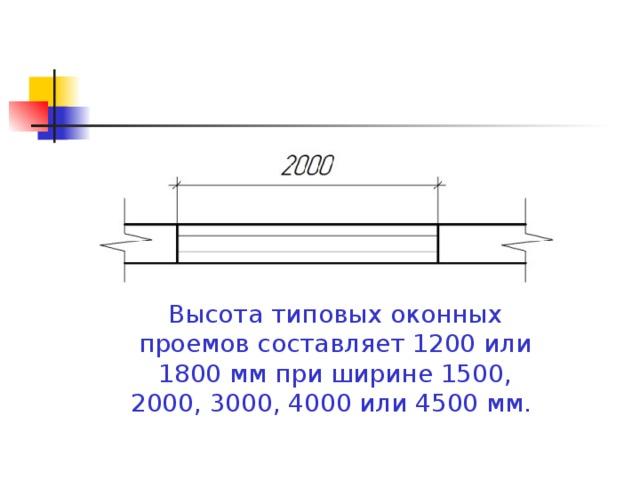 Высота типовых оконных проемов составляет 1200 или 1800 мм при ширине 1500, 2000, 3000, 4000 или 4500 мм.
