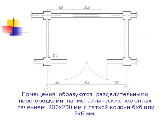 Помещения образуются разделительными перегородками на металлических колоннах сечением 200х200 мм с сеткой колонн 6х6 или 9х6 мм.