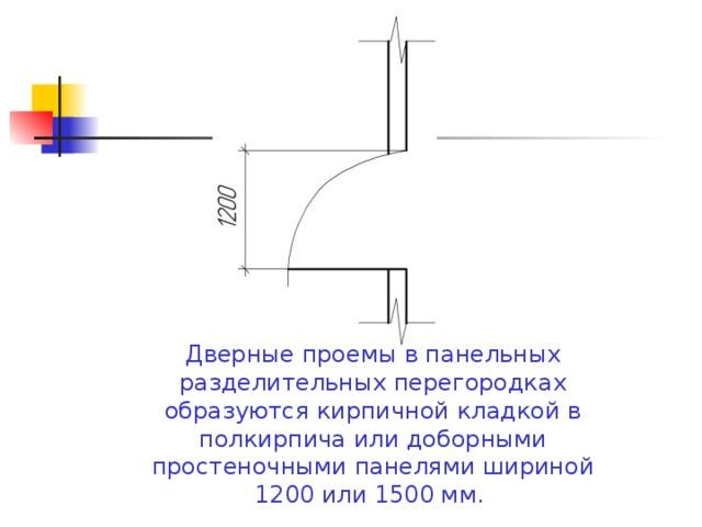 Дверные проемы в панельных разделительных перегородках образуются кирпичной кладкой в полкирпича или доборными простеночными панелями шириной 1200 или 1500 мм.