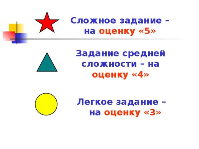 Сложное задание – на оценку «5» Задание средней сложности – на оценку «4» Легкое задание – на  оценку «3»