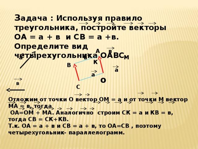З адача : Используя правило треугольника, постройте векторы ОА = а + в и CВ = а +в. Определите вид четырехугольника ОАВС. в А М а в К В а а о в С Отложим от точки О вектор ОМ = а и от точки М вектор МА = в, тогда  ОА=ОМ + МА. Аналогично строим СК = а и КВ = в, тогда СВ = СК+КВ. Т.к. ОА = а + в и CВ = а + в, то ОА=CВ , поэтому четырехугольник- параллелограмм.