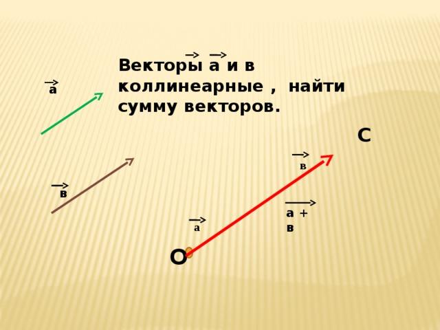 Векторы а и в коллинеарные , найти сумму векторов. а а С в  в  а + в а О