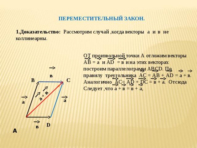 А  а + в  ПЕРЕМЕСТИТЕЛЬНЫЙ ЗАКОН.  1.Доказательство: Рассмотрим случай ,когда векторы а и в не коллинеарны. ОТ произвольной точки А отложим векторы АВ = а и АD = в и на этих векторах построим параллелограмм АВСD. По правилу треугольника АС = АВ + АD = а + в. Аналогично АС= АD + DС = в + а. Отсюда Следует ,что а + в = в + а, в С В а а D в