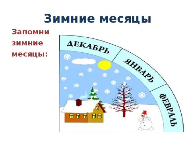 Зимние месяцы Запомни зимние месяцы: