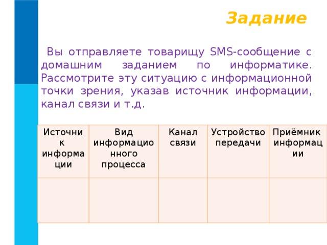 Задание Вы отправляете товарищу SMS-сообщение с домашним заданием по информатике. Рассмотрите эту ситуацию с информационной точки зрения, указав источник информации, канал связи и т.д. Источник информации Вид информационного процесса Канал связи Устройство передачи Приёмник информации