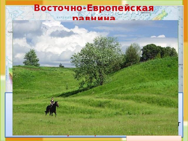 Восточно-Европейская равнина  Это холмистая  равнина . На карте она изо-бражена светло-зелёным цветом. И на ней, как заплатки, пятна жёлтого цвета. Это возвышенности . Эту равнину ещё называют Русской равниной .