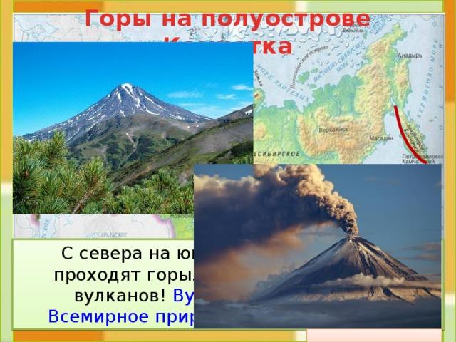 Горы на полуострове Камчатка  С севера на юг по всему полуострову проходят горы. Здесь 28 действующих вулканов! Вулканы Камчатки – это Всемирное природное наследие России .