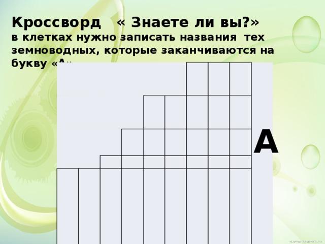 Кроссворд « Знаете ли вы?» в клетках нужно записать названия тех земноводных, которые заканчиваются на букву «А»   А