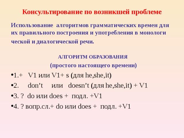 Консультирование по возникшей проблеме Использование алгоритмов грамматических времен для их правильного построения и употребления в монологи ческой и диалогической речи.  АЛГОРИТМ ОБРАЗОВАНИЯ  (простого настоящего времени)