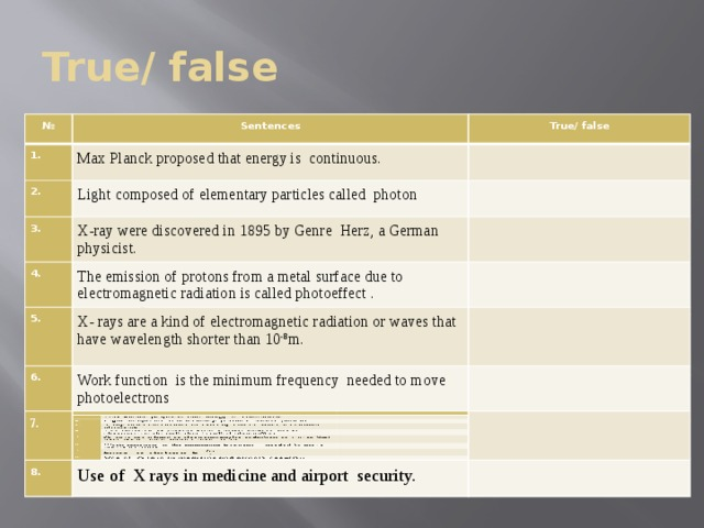 True/ false № № Sentences Sentences 1. 1. 2. 2. True/ false True/ false Max Planck proposed that energy is continuous. Max Planck proposed that energy is continuous. Light composed of elementary particles called photon Light composed of elementary particles called photon 3. 3. 4. X-ray were discovered in 1895 by Genre Herz, a German physicist. 4. X-ray were discovered in 1895 by Genre Herz, a German physicist. The emission of protons from a metal surface due to electromagnetic radiation is called photoeffect . The emission of protons from a metal surface due to electromagnetic radiation is called photoeffect . 5. 5. 6. X- rays are a kind of electromagnetic radiation or waves that have wavelength shorter than 10 -8 m. 6. X- rays are a kind of electromagnetic radiation or waves that have wavelength shorter than 10 -8 m. Work function is the minimum frequency needed to move photoelectrons Work function is the minimum frequency needed to move photoelectrons 7. 7. 8. Energy  of photon is E= 8. Use of X rays in medicine and airport security. Use of X rays in medicine and airport security.