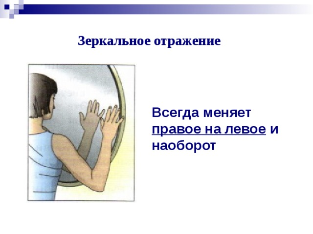 Зеркальное отражение Всегда меняет правое на левое и наоборот