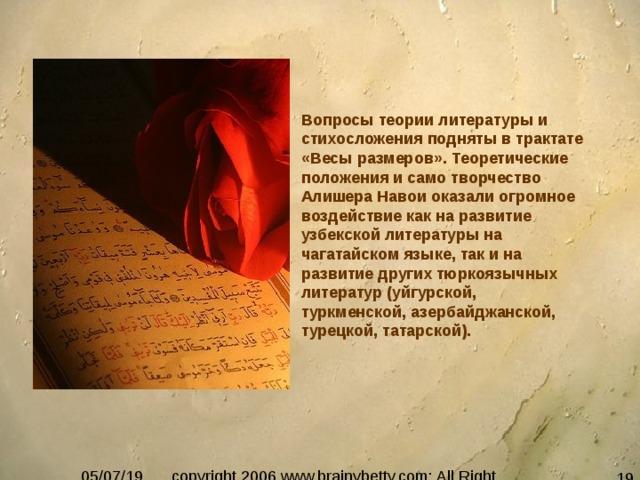 Вопросы теории литературы и стихосложения подняты в трактате «Весы размеров». Теоретические положения и само творчество Алишера Навои оказали огромное воздействие как на развитие узбекской литературы на чагатайском языке, так и на развитие других тюркоязычных литератур (уйгурской, туркменской, азербайджанской, турецкой, татарской).