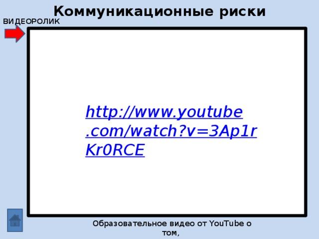 Коммуникационные риски ВИДЕОРОЛИК http://www.youtube.com/watch?v=3Ap1rKr0RCE Образовательное видео от YouTube о том, как избежать опасных ситуаций в Интернете.