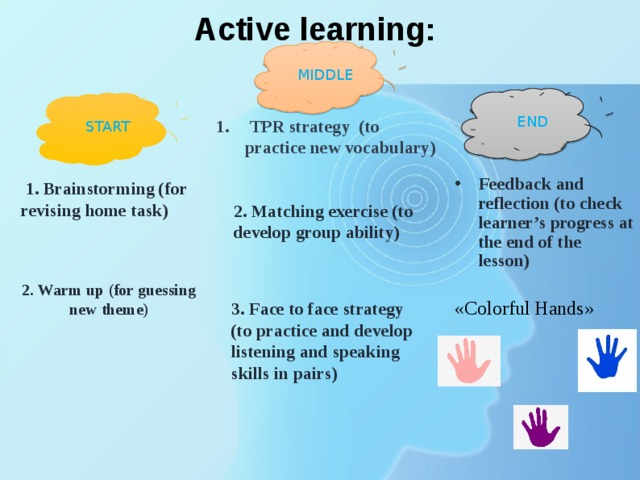 Active learning: MIDDLE END   TPR strategy (to practice new vocabulary) START Feedback and reflection (to check learner's progress at the end of the lesson)  «Colorful Hands»   1. Brainstorming (for revising home task) 2. Matching exercise (to develop group ability) 2. Warm up (for guessing new theme)  3. Face to face strategy (to practice and develop listening and speaking skills in pairs)