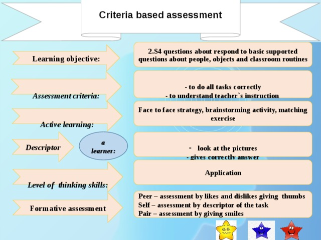 Criteria based assessment    2.S4 questions about respond to basic supported questions about people, objects and classroom routines    Learning objective: - to do all tasks correctly - to understand teacher`s instruction - to demonstrate parts of body correctly  Assessment criteria:    Active learning: Face to face strategy, brainstorming activity, matching exercise a learner: Descriptor look at the pictures - gives correctly answer  Application  Level of thinking skills: Peer – assessment by likes and dislikes giving thumbs Self – assessment by descriptor of the task Pair – assessment by giving smiles Formative assessment