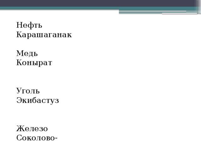Нефть Карашаганак Медь Конырат Уголь Экибастуз Железо Соколово-  Сарбайское Газ Амангельды