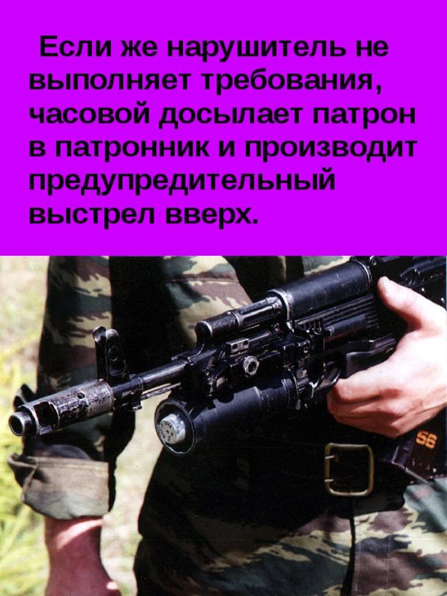 Если же нарушитель не выполняет требования, часовой досылает патрон в патронник и производит предупредительный выстрел вверх.