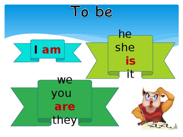 he she is it I am we you are they