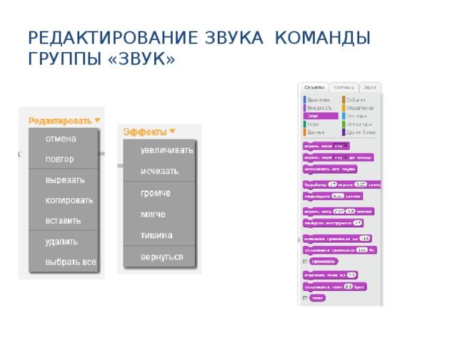 Редактирование звука Команды группы «Звук» Это все можно показывать прямо в редакторе Scratch